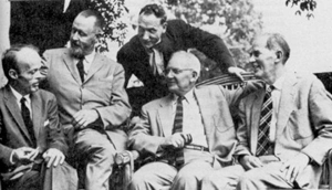 The Fugitives Poets in 1956: Allen Tate, left, Merrill Moore, Robert Penn Warren, standing, John Crowe Ransom and Donald Davidson.