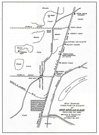 The map depicts important scenes of the Elaine Race Massacre.