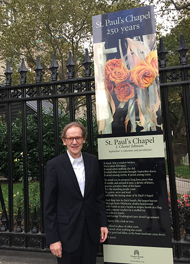 "J. Chester Johnson With Display of His Iconic Poem ""St. Paul's Chapel"""
